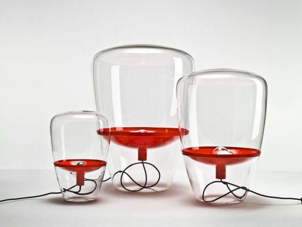 BALLOONS Large Brokis PC858 floor designer lamp transparent glass red