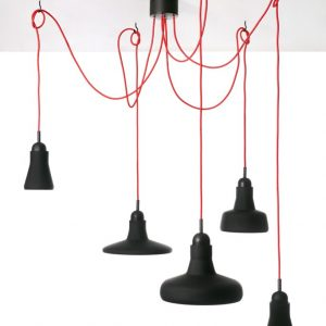SHADOWS Set Free Brokis PC891 designer pendant lamp black glass red cable