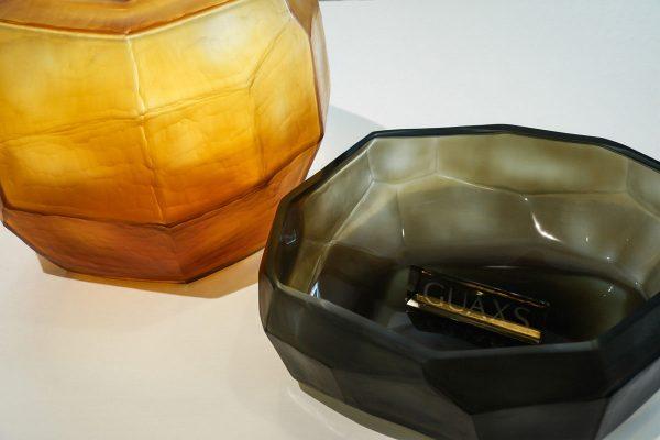 cubistic round vase gold bowl smokegrey guaxs