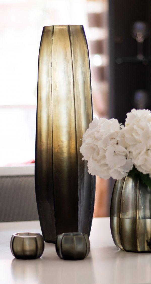 Designer vase GUAXS koonam tall smokegrey