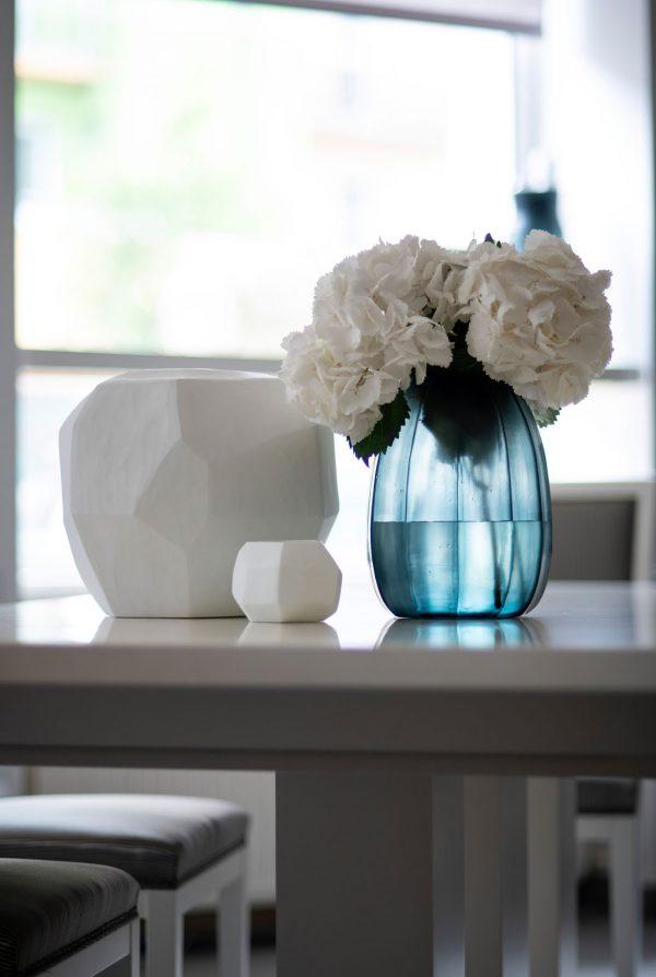 GUAXS glass vase blue koonam opal cubistic round