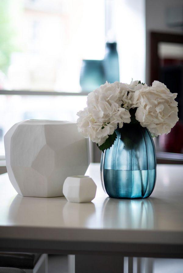 GUAXS glass vase oceanblue koonam opal cubistic round