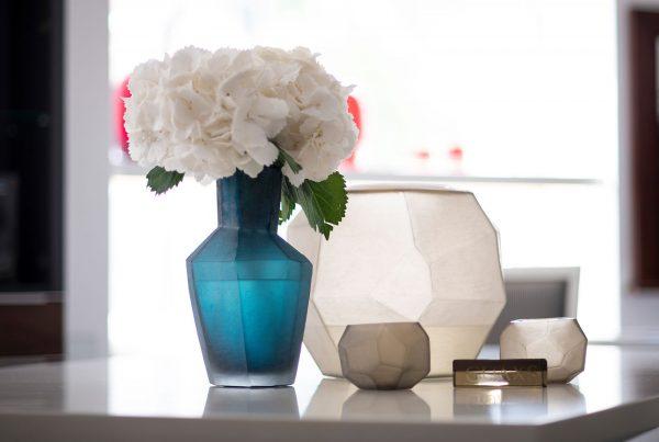 GUAXS luxury vase petrol kahulu smokegrey cubistic