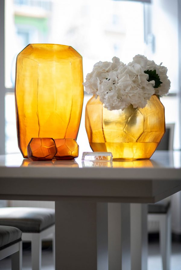 GUAXS vase gold cubistic round