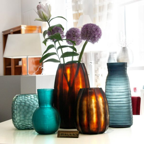 GUAXS vase glass originals new collection 2020 petrol blue butterbrown