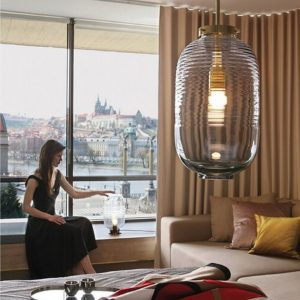 Lantern pendant smoke-polished brass BOMMA interior copy