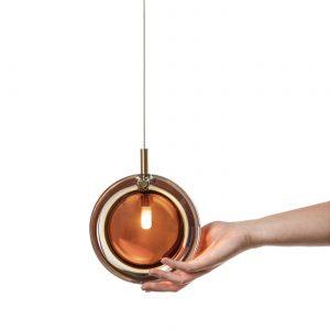 Lens Pendant amber-brushed brass BOMMA