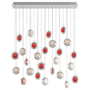 Lens chandelier-26 pcs-square white- red BOMMA