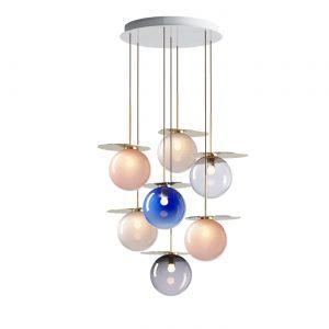 Umbra chandelier 7 pcs pink blue light grey clear smoke BOMMA