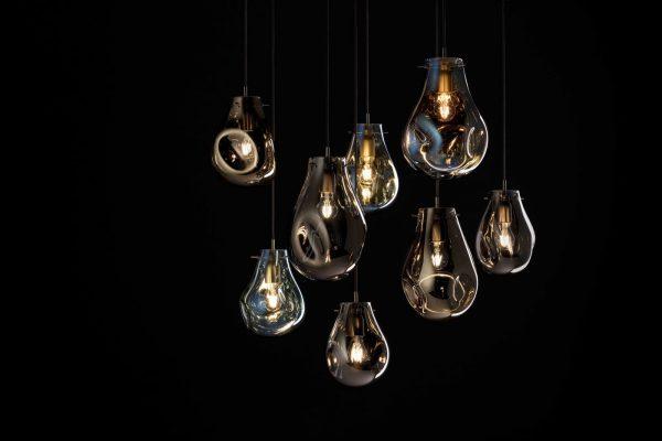 soap pendants BOMMA chandelier gold blue silver on