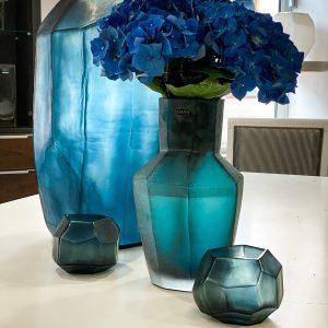 KAHULU Petrol CUBISTIC Tall vase CUBISTIC TEALIGHT Ocean blue indigo Guaxs (3)